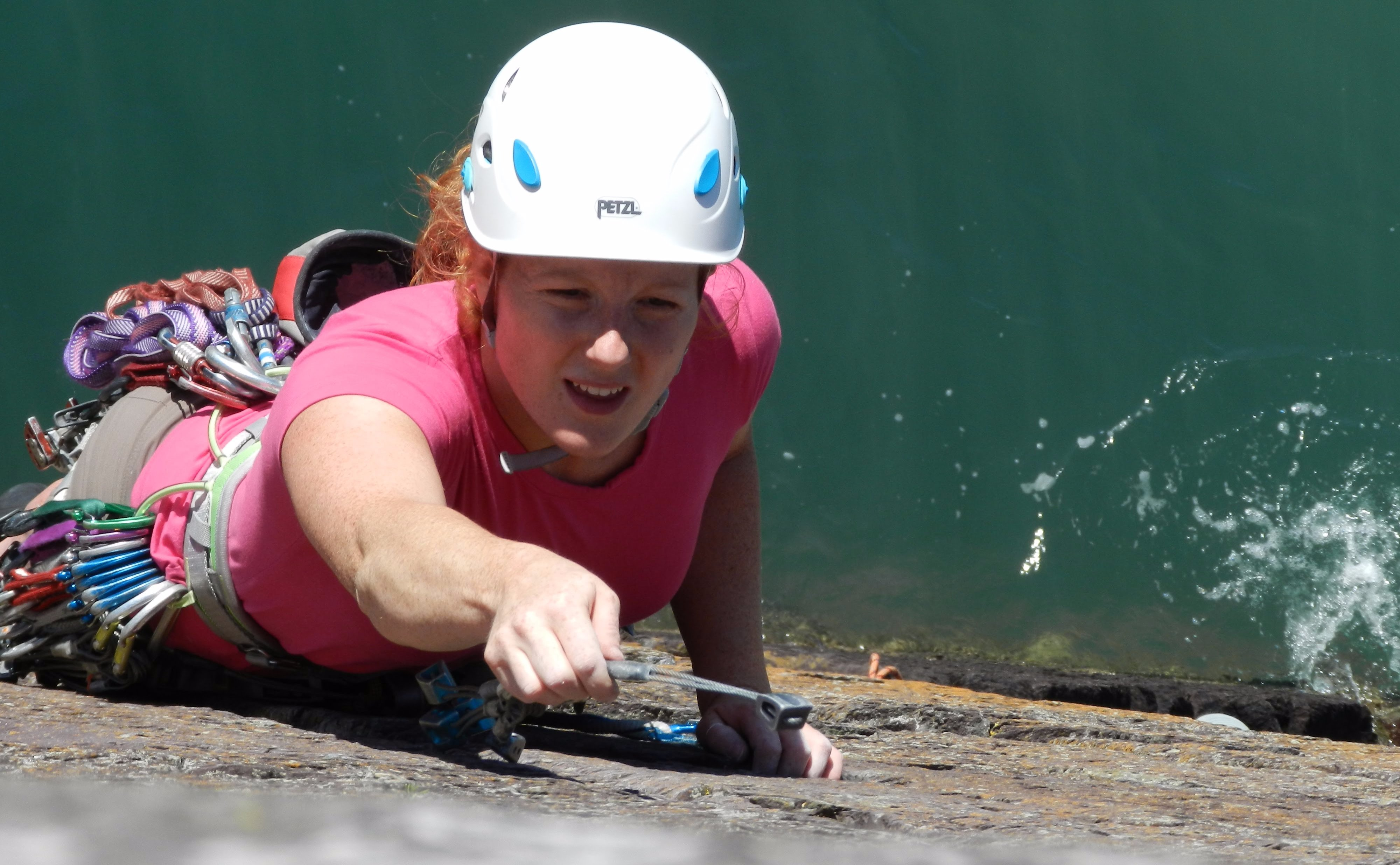 Placing a nut whilst lead climbing