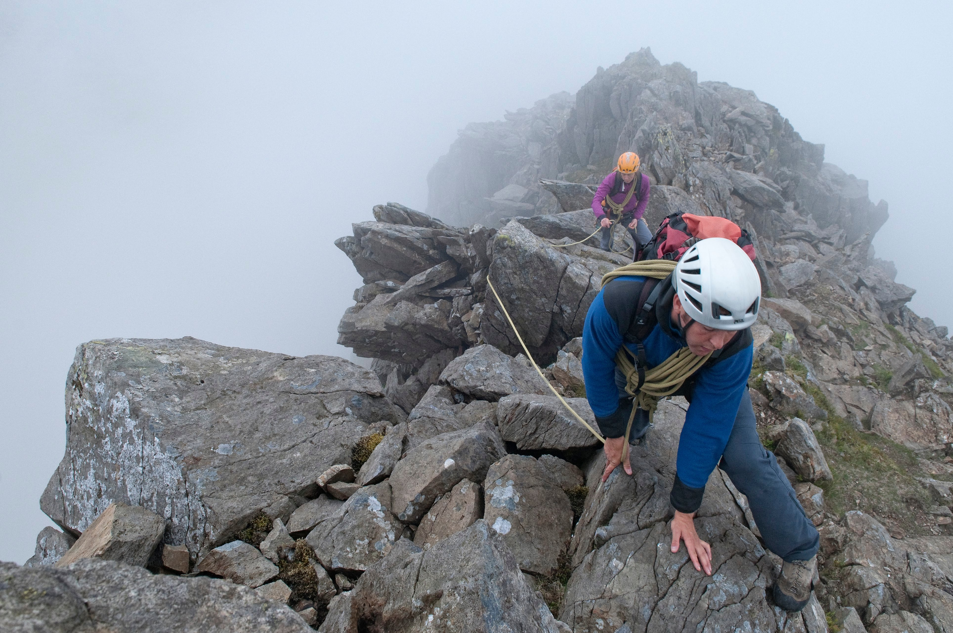 Scrambling on the Clogwyn y Person Arete, Snowdon