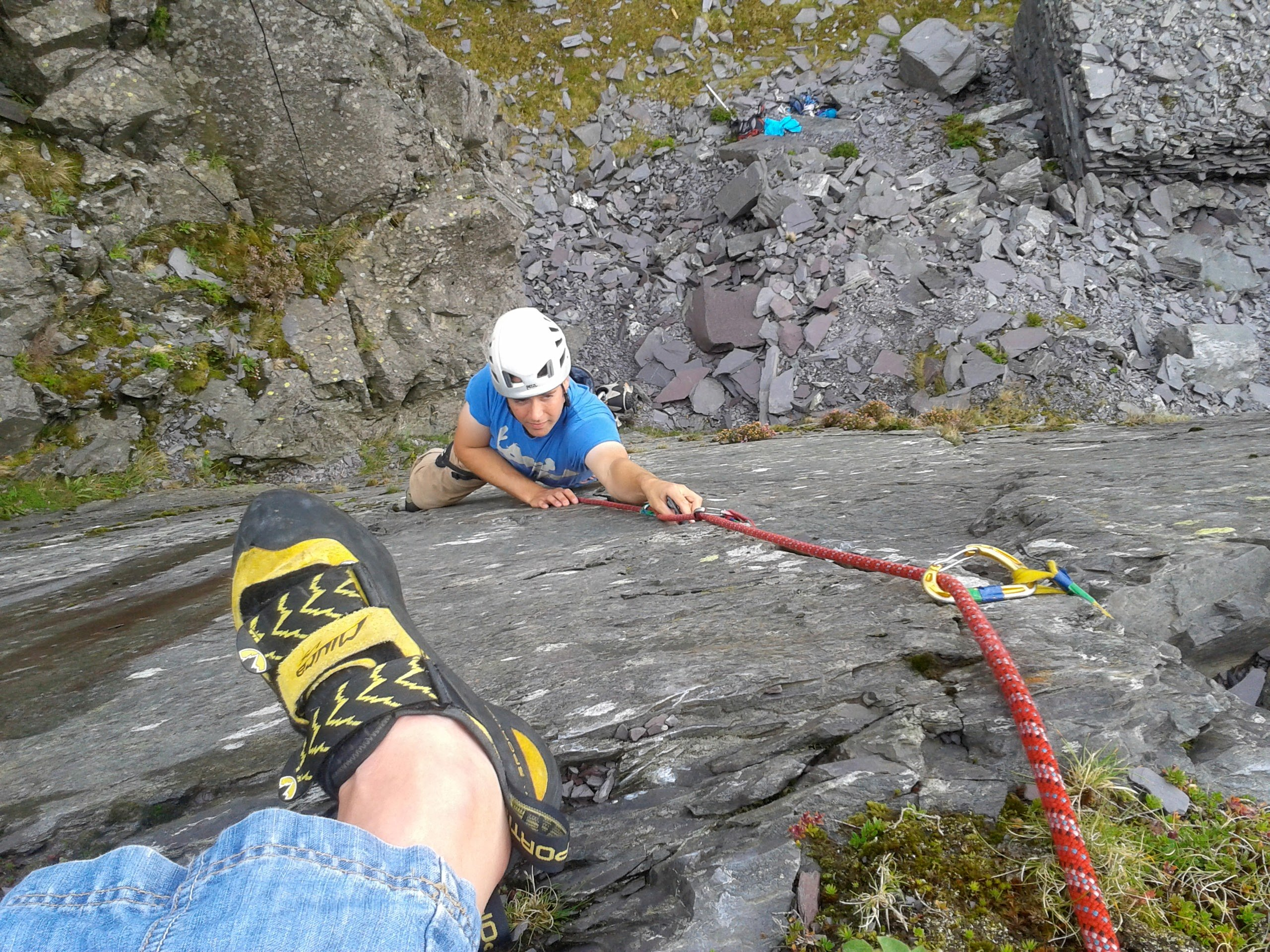 Climbing on Llanberis Slate