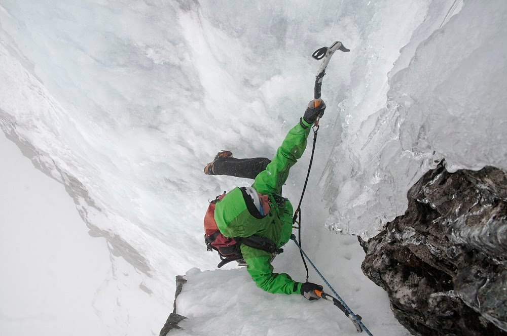 Ice climbing on Royal Pardon, Aonach Mor, Scotland